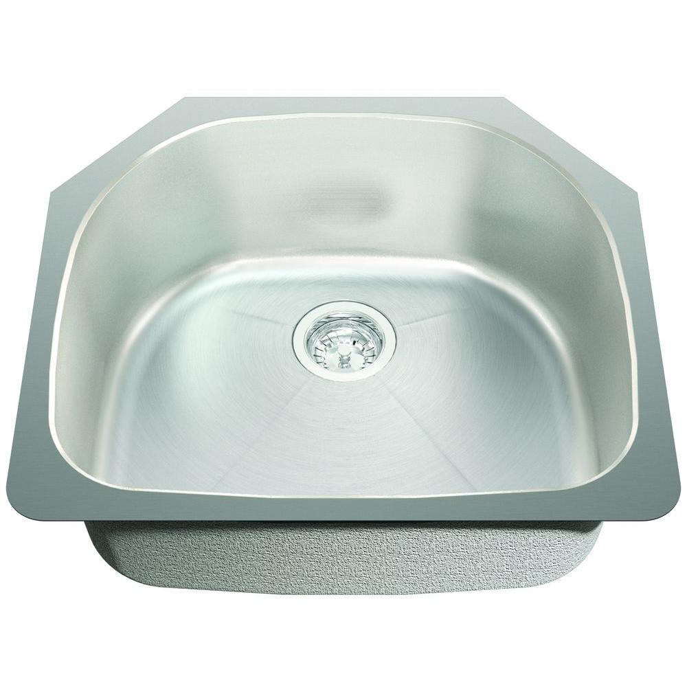 SINKOLOGY Pinnacle Undermount Stainless Steel D-Basin 23-3/8 in. 0-Hole Creased Bottom Single Basin Kitchen Sink