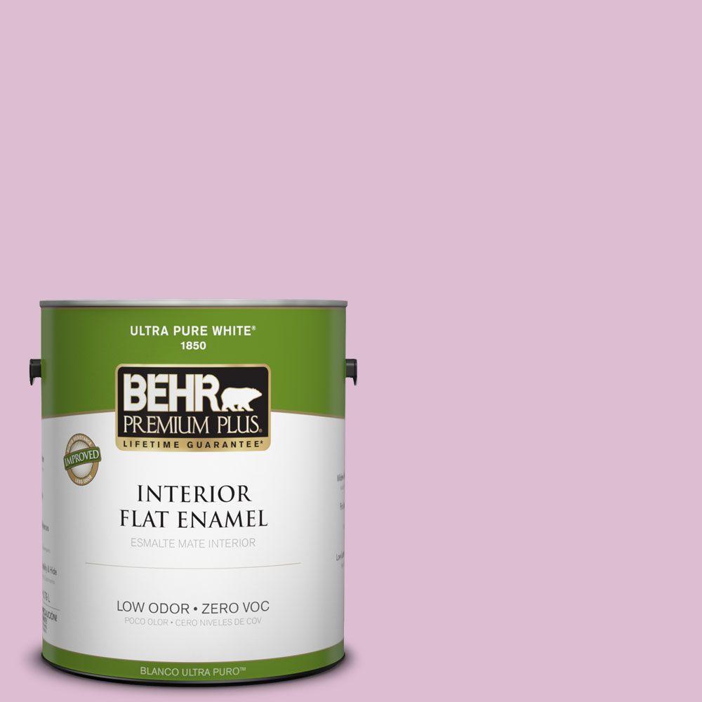 BEHR Premium Plus 1-gal. #690C-3 Delicate Bloom Zero VOC Flat Enamel Interior Paint-DISCONTINUED
