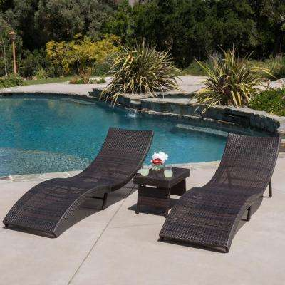 Acapulco Multi-Brown 3-Piece Wicker Outdoor Chaise Lounge