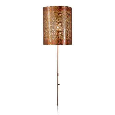11 in. Copper Sconce with Scalloped Pierced Metal Shade