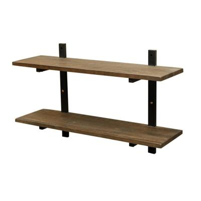 "Pomona 10"" D x 36"" W x 22"" H Natural Metal and Solid Wood Wall Shelf"