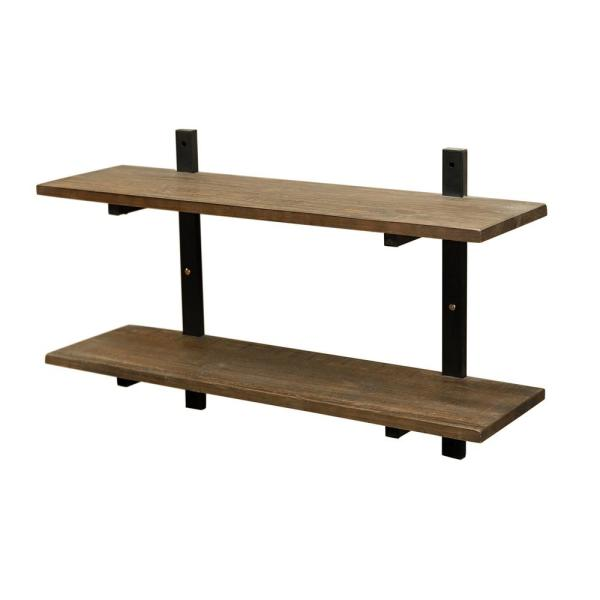 """Alaterre Furniture Pomona 10"""" D x 36"""" W x 22"""" H Natural Metal and Solid Wood Wall Shelf"""