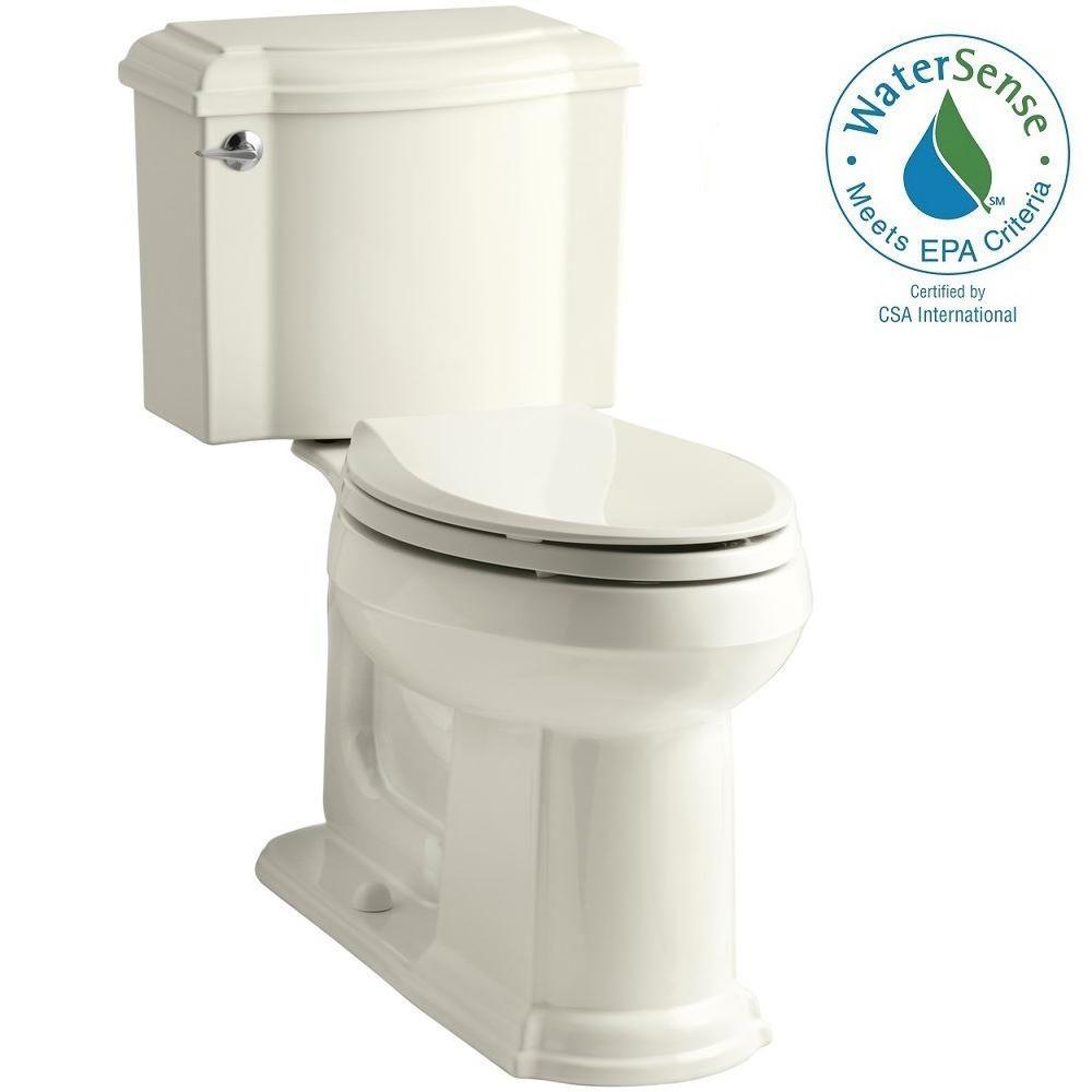 KOHLER Devonshire 2-piece 1.28 GPF Elongated Toilet with AquaPiston Flush Technology in Biscuit