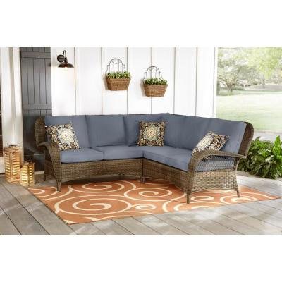 Beacon Park 3-Piece Brown Wicker Outdoor Patio Sectional Sofa with CushionGuard Steel Blue Cushions