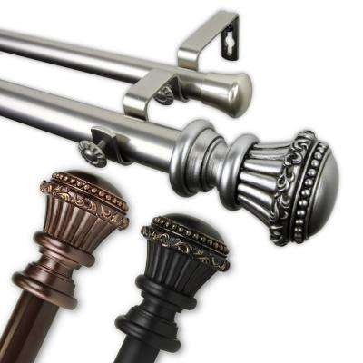 Royal 1 in. Double Curtain Rod 160 in. to 240 in. in Black