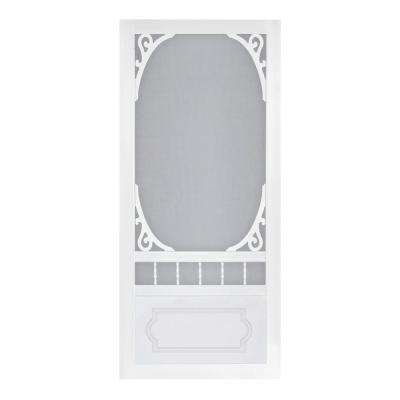 36 in. x 80 in. Belle Harbour White Screen Door with Hardware