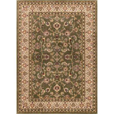 Barclay Sarouk Green 6 ft. 7 in. x 9 ft. 6 in. Traditional Floral Area Rug