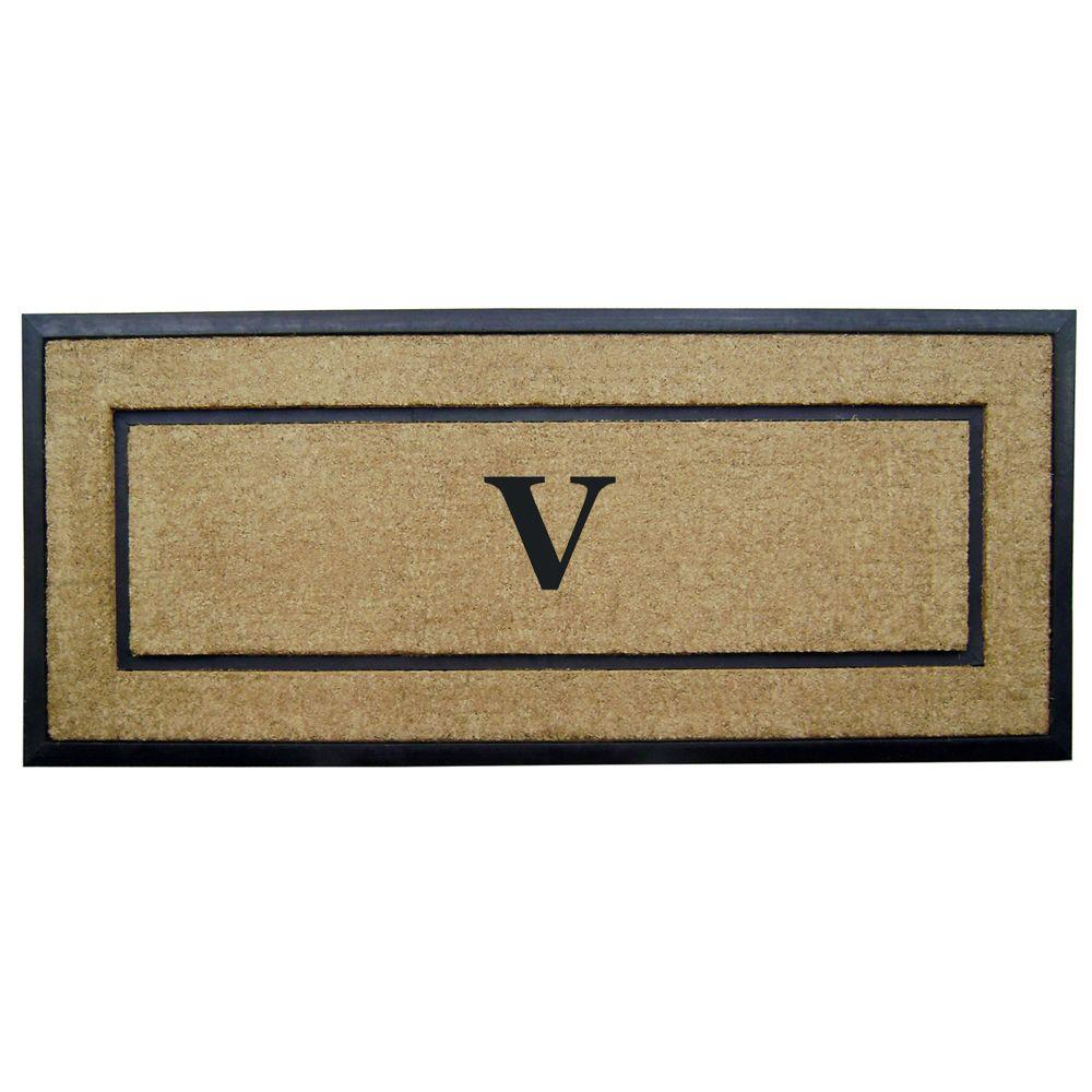 DirtBuster Single Picture Frame Black 24 in. x 57 in. Coir with Rubber Border Monogrammed V Door Mat