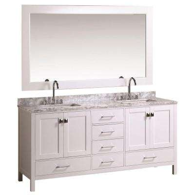 London 72 in. W x 22 in. D Bath Vanity in White with Marble Vanity Top in White with White Basins