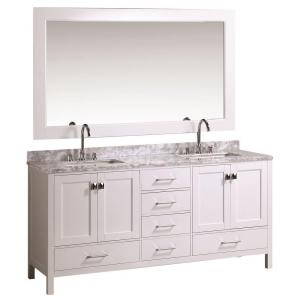 Design Element London 72 inch W x 22 inch D Double Vanity in White with Marble Vanity Top and Mirror in Carrara White by Design Element