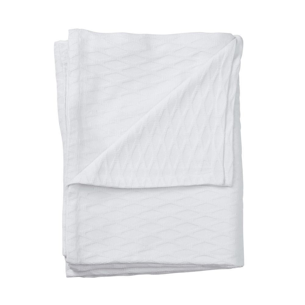 Cotton Bamboo White Full Woven Blanket