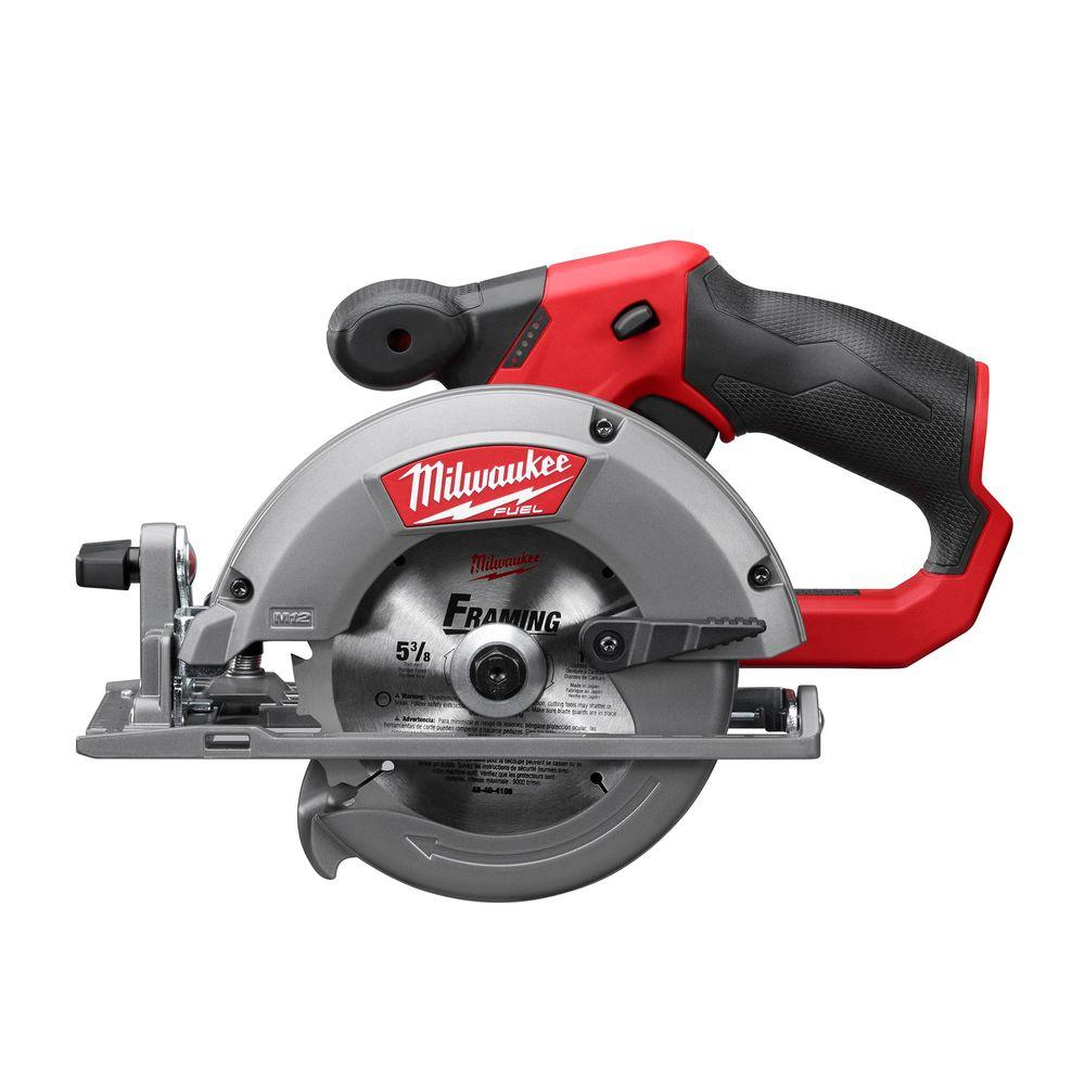 Milwaukee m12 fuel 12 volt lithium ion brushless cordless 5 38 in milwaukee m12 fuel 12 volt lithium ion brushless cordless 5 38 in circular saw tool only w 16t carbide tipped metal saw blade 2530 20 the home depot greentooth Choice Image