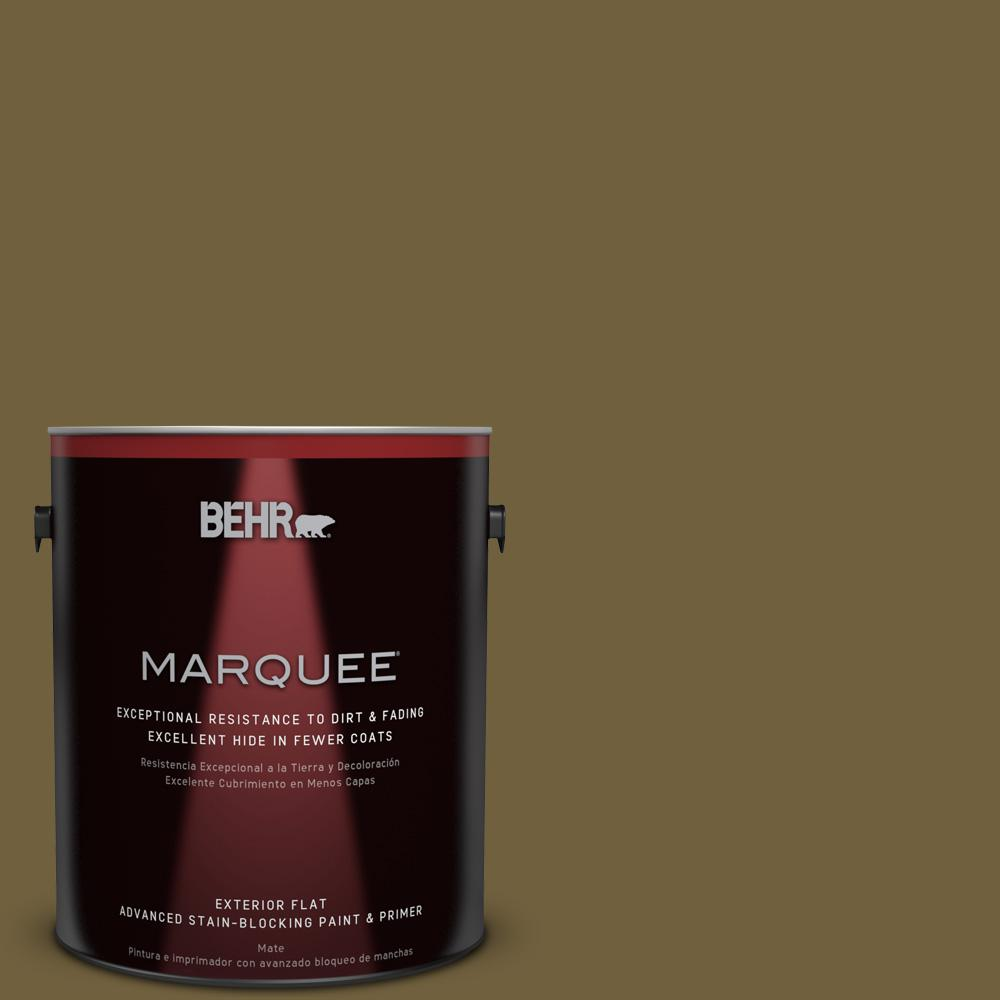 BEHR MARQUEE 1-gal. #360F-7 Olive Shadow Flat Exterior Paint