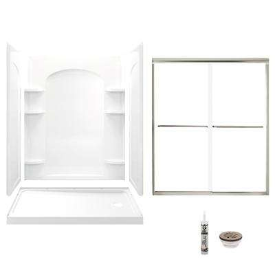 Ensemble 32 in. x 60 in. x 74.75 in. Right-Hand Drain and Backers Alcove Shower Kit in White and Brushed Nickel