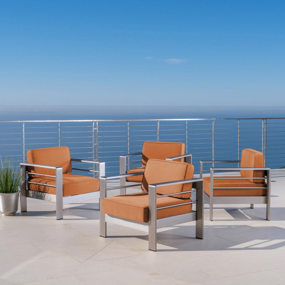 Noble House Cape Coral Silver Armed Metal Outdoor Lounge Chairs with Canvas Rust Sunbrella Cushions (4-Pack)