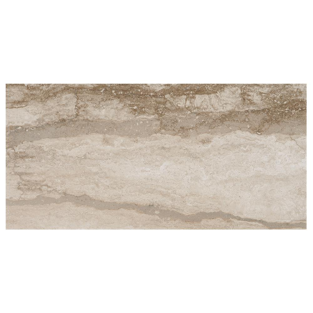 Vettuno Bisque 12 in. x 24 in. Glazed Porcelain Floor and
