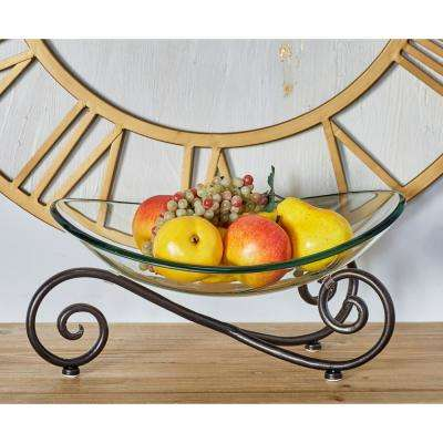 Clear Decorative Glass Bowl with an Iron Scroll Stand