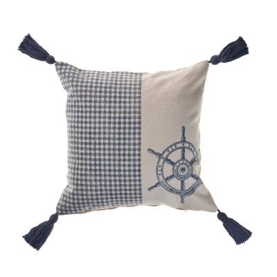 Steer Blue/Cream the Way Nautical Gingham 18 in. x 18 in. Decorative Throw Pillow