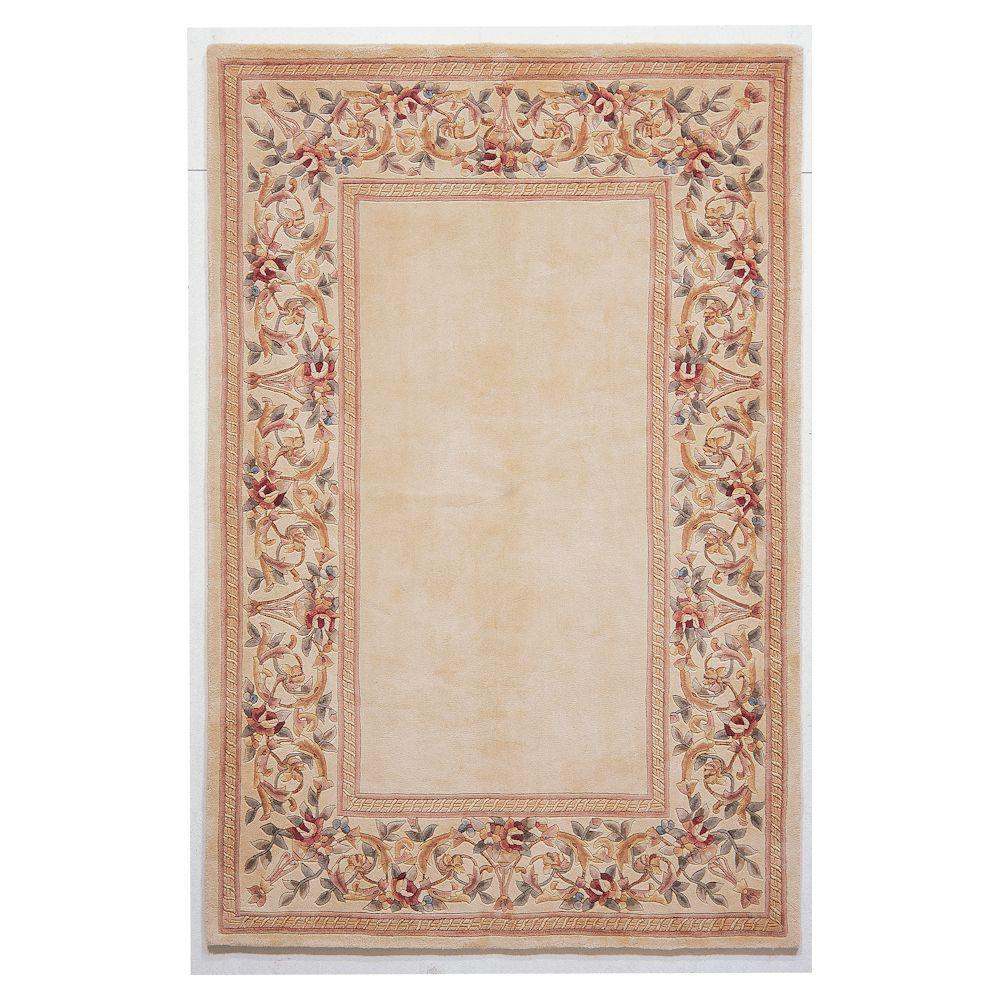 Kas Rugs Lush Floral Border Ivory 3 ft. 3 in. x 5 ft. 3 in. Area Rug