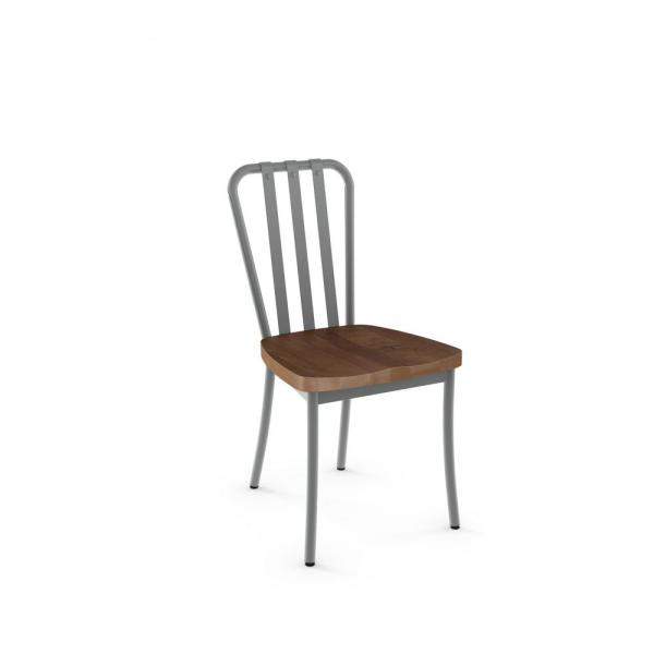 Amisco Bond Glossy Grey with Medium Brown Wood Seat Dining Chair