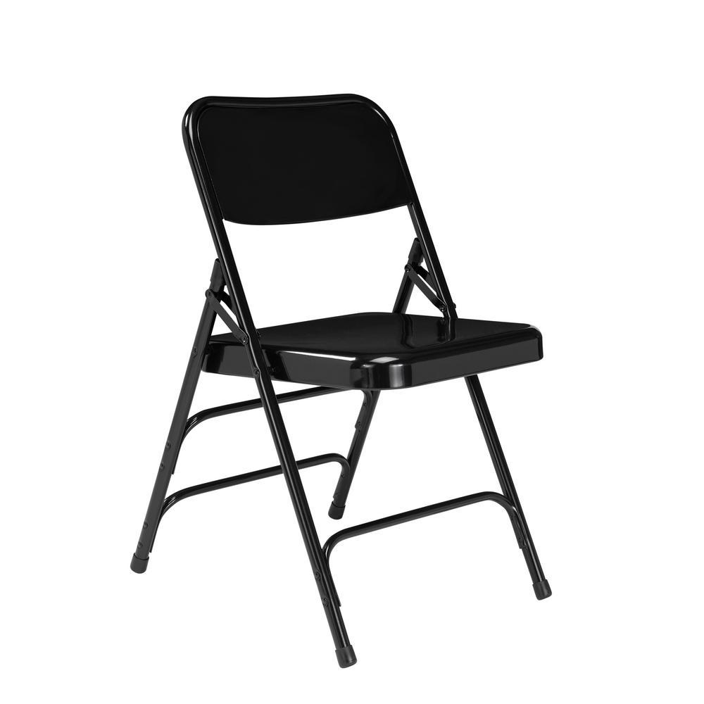 NPS 300 Series Premium Black All-Steel Triple Brace Folding Chair (Pack of 4)