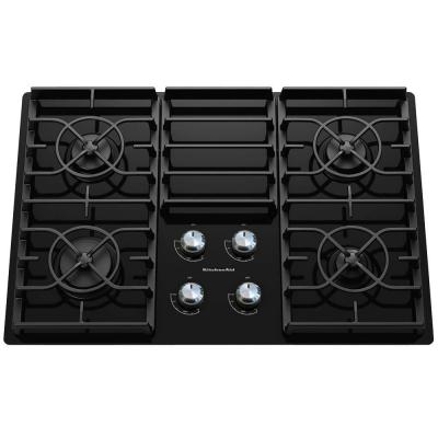 Architect Series II 30 in. Gas-on-Glass Gas Cooktop in Black with 4 Burners including 17000 BTU Professional Burner
