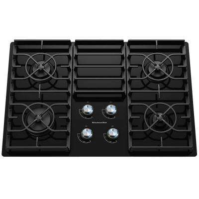 Architect Series II 30 in. Gas-on-Glass Gas Cooktop in Black with 4 Burners including 17000-BTU Professional Burner