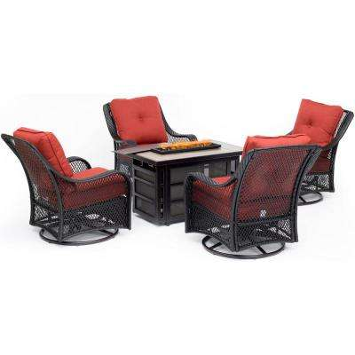 Orleans 5-Piece Wicker Patio Fire Pit Seating Set with Autumn Berry Cushions