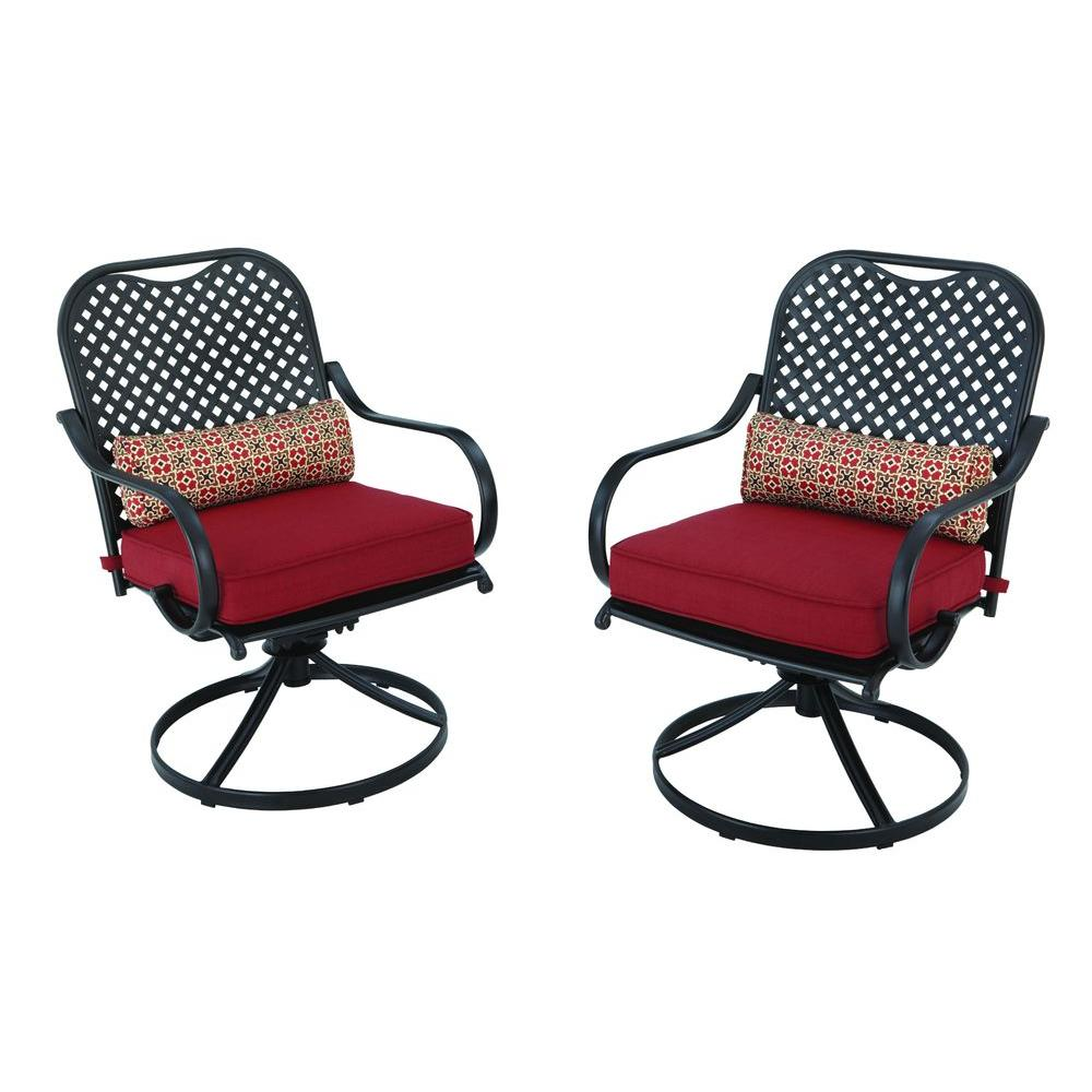 Exceptional Hampton Bay Fall River Motion Patio Dining Chair With Chili Cushion  (2 Pack) DY11034 DR R   The Home Depot