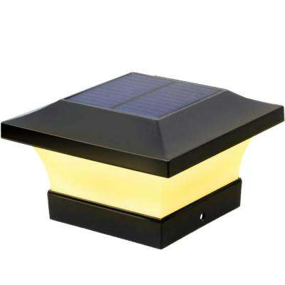 Brightest Solar Black LED 4 in. x 4 in. Deck Post Light with 100 Lumens (10-Watt Equivalent)