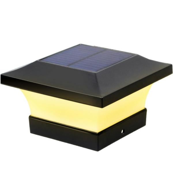 Brightest Solar Black LED 4 in. x 4 in. Deck Post Light with 100 Lumens (10-Watt Equivalent)