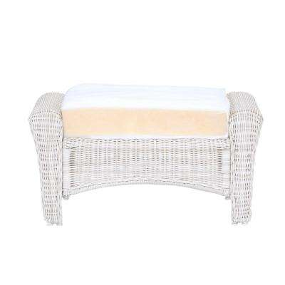 Park Meadows White Custom Wicker Outdoor Ottoman with Cushions Included, Choose Your Own Color