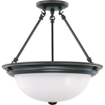 3-Light Mahogany Bronze Semi-Flush Mount Light with Frosted White Glass Shade