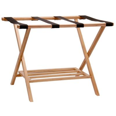 Bamboo Luggage Rack with Tray