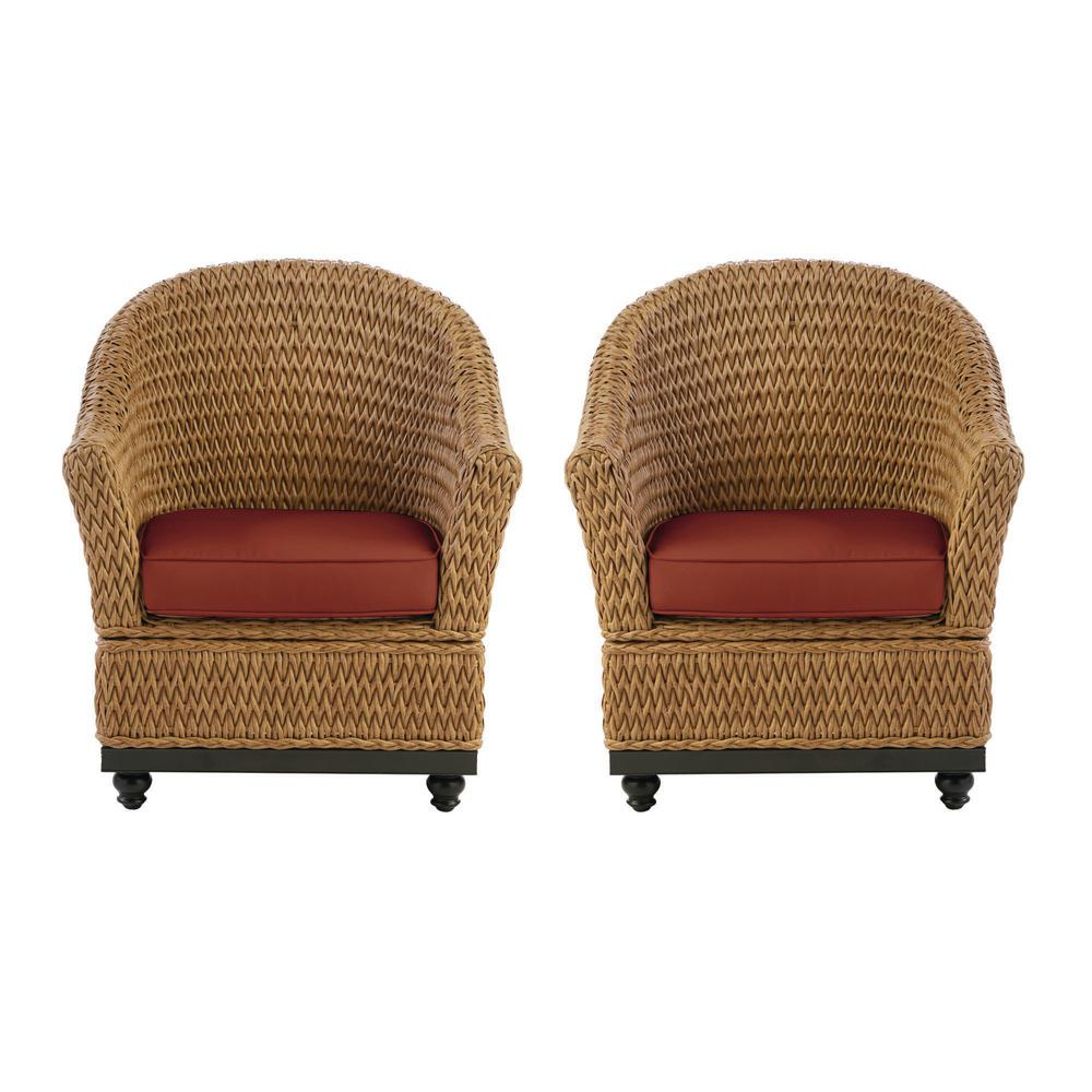 Home Decorators Collection Camden Light Brown Seagrass Wicker Outdoor Porch Lounge Chair with Sunbrella Henna Red Cushions (2-Pack) was $599.0 now $479.0 (20.0% off)