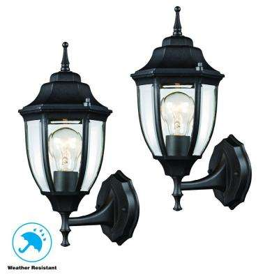 Black Outdoor Wall Lantern (2-Pack)