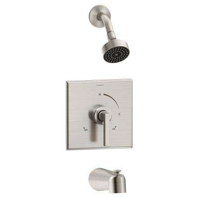 Duro 1-Handle Wall Mounted Tub and Shower Trim Kit in Satin Nickel (Valve Not Included)
