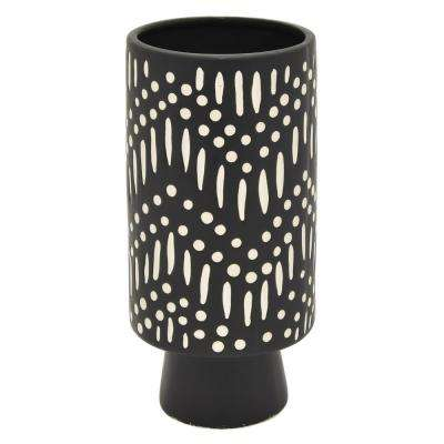 9.25 in. Black Ceramic Vase