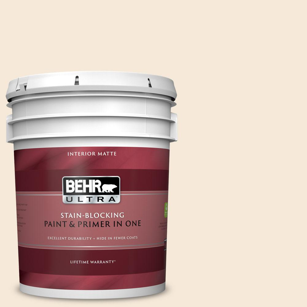 BEHR ULTRA 5 gal. #BXC-47 Marquee White Matte Interior Paint and Primer in One