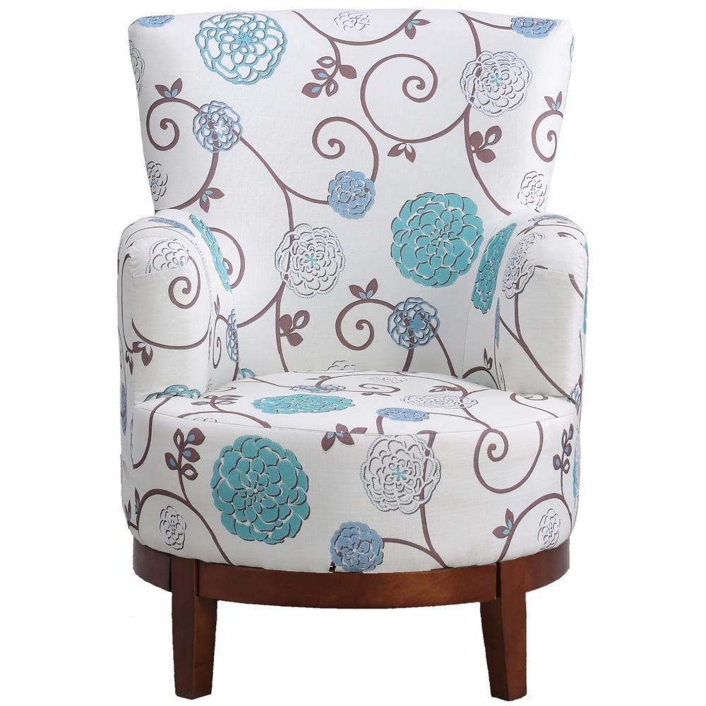 Sara Floral Swivel Chair(Chocolate Base)