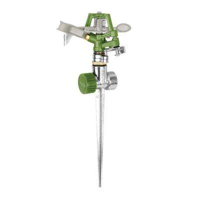 1390 sq. ft. Max Coverage Heavy-Duty Metal Impulse Sprinkler with Durable Zinc Alloy Spike
