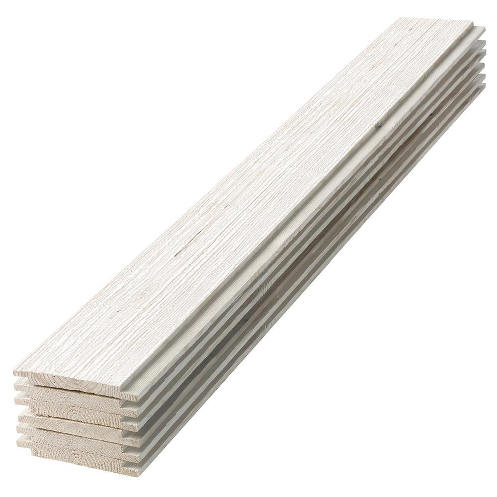 1 in. x 6 in. x 4 ft. Barn Wood White Shiplap Pine Board (6-Pack)