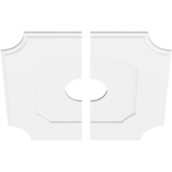 Ekena Millwork 1 In P X 16 3 4 In C X 28 In Od X 6 In Id Locke Architectural Grade Pvc Contemporary Ceiling Medallion Two Piece Cmp28le2 06000 The Home Depot