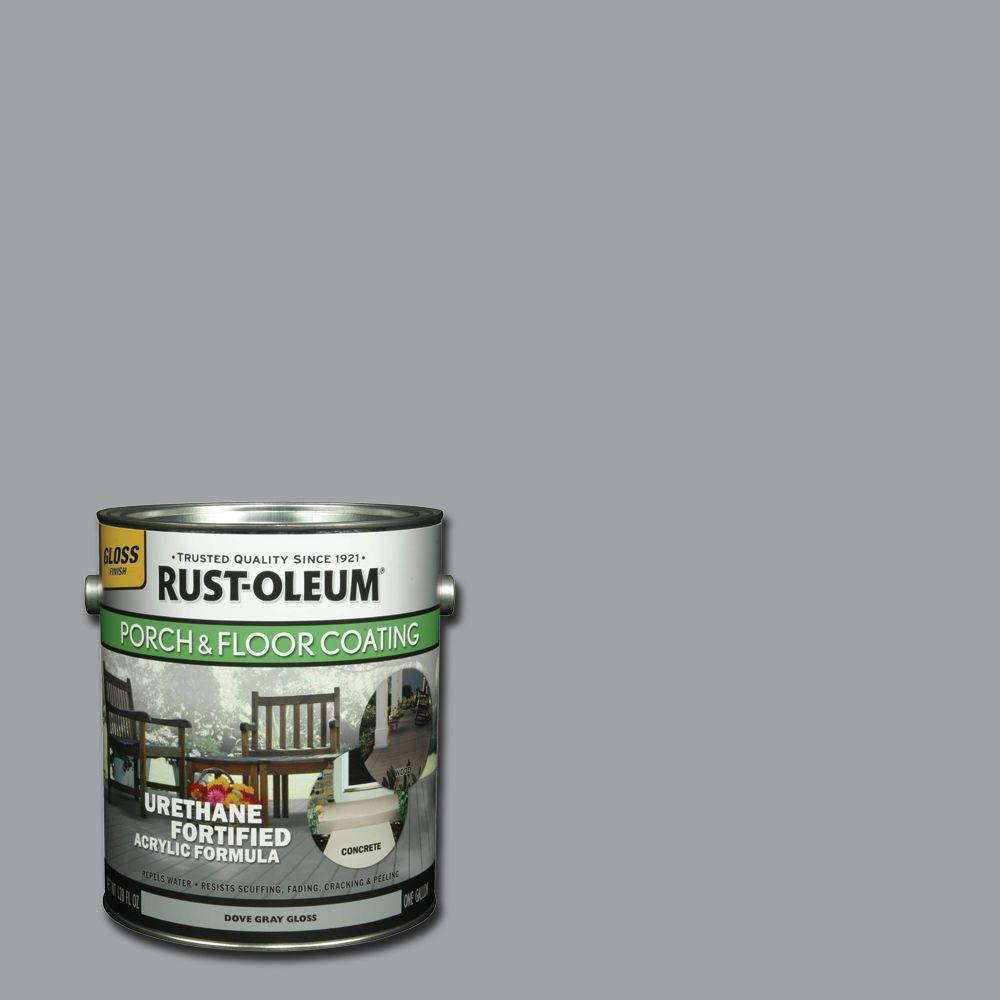 Rust oleum porch and floor 1 gal dove gray gloss exterior solid stain case of 2 244847 the for Rustoleum exterior concrete paint