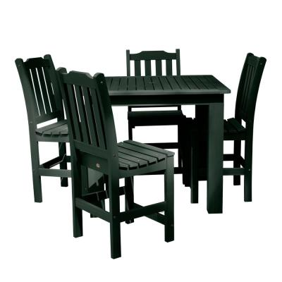 Lehigh Charleston Green 5-Piece Recycled Plastic Square Outdoor Balcony Height Dining Set