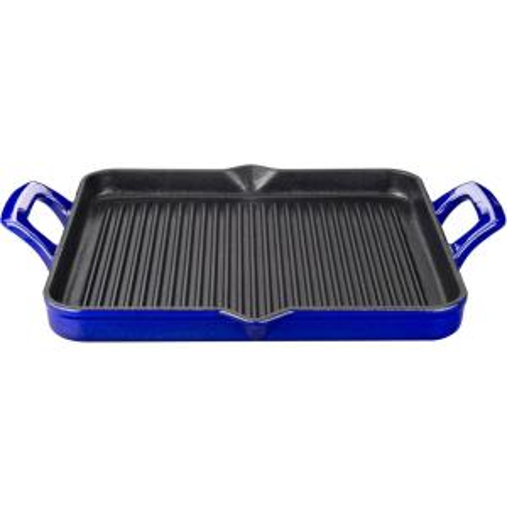 La Cuisine Rectangular 1 Qt. Cast Iron Grill Pan with Enamel in High Gloss Sapphire by La Cuisine