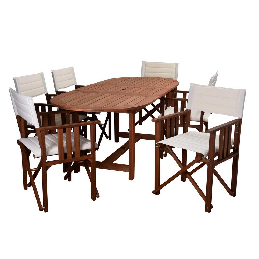 Rio 7-Piece Eucalyptus Oval Patio Dining Set with Off White Canvas