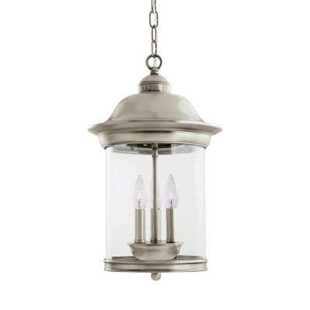 Hermitage 3-Light Antique Brushed Nickel Outdoor Hanging Pendant