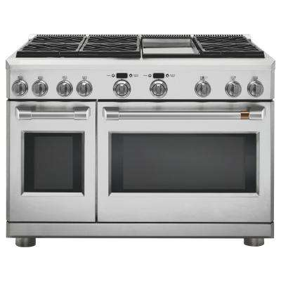 48 in. 8.25 cu. ft. Double Oven Dual Fuel Range with 6 Burners and Griddle in Stainless Steel