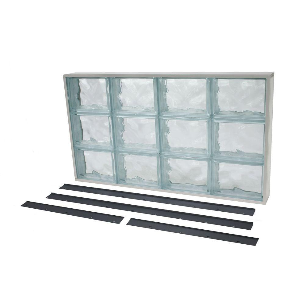 31.625 in. x 17.625 in. NailUp2 Wave Pattern Solid Glass Block